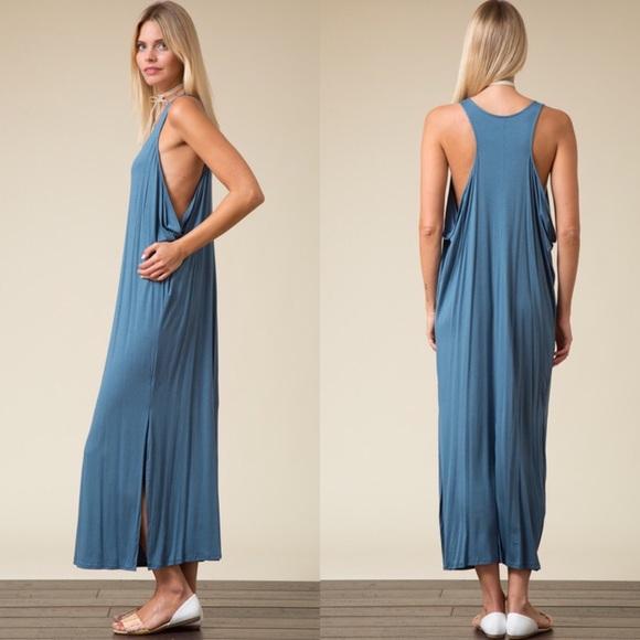 Love in Dresses & Skirts - 🖤{BLACK} Drape Side Maxi Dress